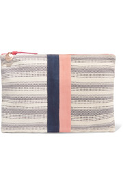 Clare V Striped canvas clutch
