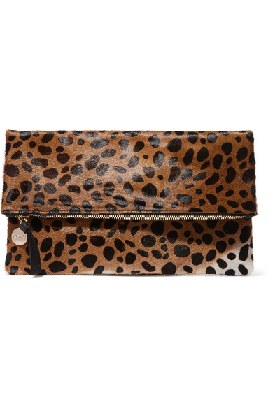 Clare V - Leopard-print Calf Hair Clutch - Leopard print