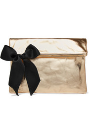 Bow-embellished metallic textured-leather clutch