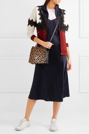 Clare V Simple mini leopard-print calf hair and textured-leather shoulder bag