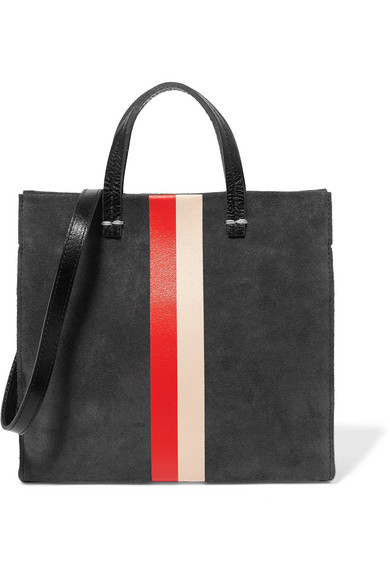 clare v female clare v simple mini printed suede shoulder bag gray