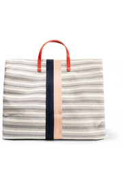Simple textured leather-trimmed striped canvas tote