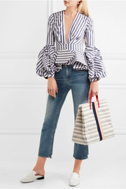 Clare V Simple textured leather-trimmed striped canvas tote