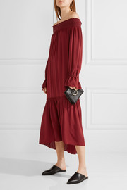 Theory Off-the-shoulder smocked silk-jersey midi dress