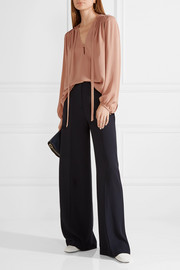 Theory Bernetta pussy-bow silk blouse