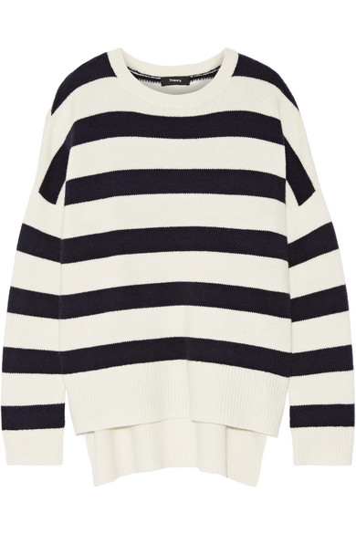 Theory - Karenia Striped Cashmere Sweater - Ivory