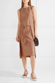 Theory Quinlynn tie-front stretch-crepe dress