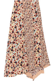 Theory Asymmetric floral-print silk crepe de chine skirt