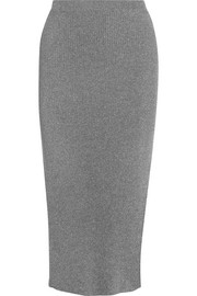 Metallic ribbed stretch-knit midi skirt