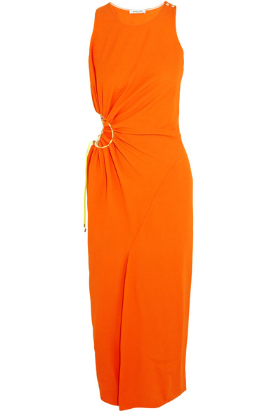 mugler female mugler cutout crepe midi dress orange