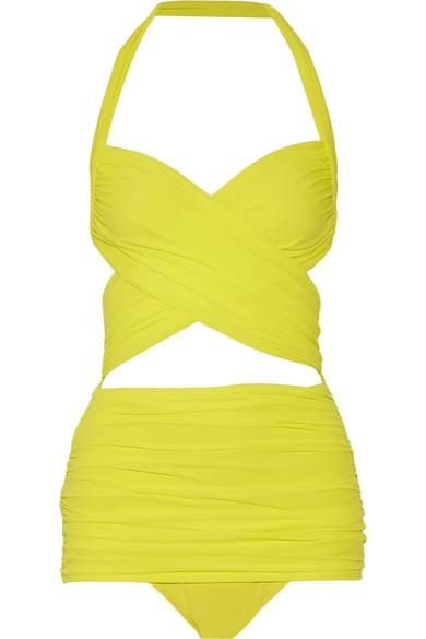 Norma Kamali - Xo Bill Mio Halterneck Swimsuit - Bright yellow
