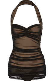 Bill Mio ruched stretch-tulle swimsuit