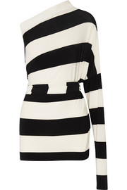 Norma Kamali All in One striped stretch-jersey mini dress