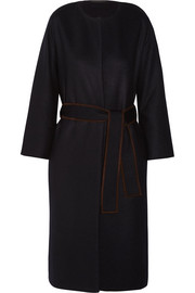 Duna belted suede-trimmed felted wool-blend coat