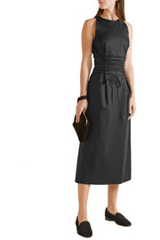 Lao lace-up double-faced stretch-wool crepe midi dress