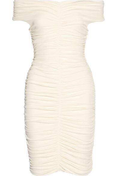 Hali off-the-shoulder ruched stretch-crepe dress