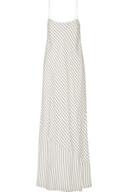 Streb striped silk crepe de chine maxi dress