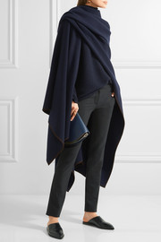 Dusana suede-trimmed merino wool and cashmere-blend cape