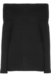 Agneta off-the-shoulder ribbed cashmere sweater