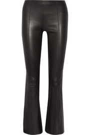 The Row Beca cropped stretch-leather flared pants