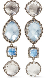 Larkspur & Hawk Sadie rhodium-dipped quartz earrings