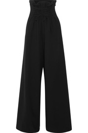 Roy lace-up wool-blend crepe wide-leg pants