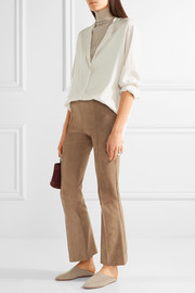 The Row Beca cropped stretch-suede flared pants