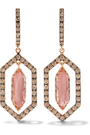 Larkspur & Hawk Caprice Floating 14-karat rose gold, diamond and quartz earrings