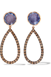 Larkspur & Hawk Caprice 14-karat rose gold, diamonds and quartz earrings