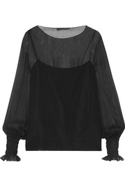 Laver crinkled silk-chiffon blouse