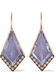 Larkspur & Hawk Caprice 14-karat rose gold, diamond and quartz earrings