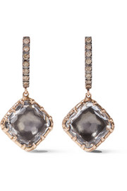 Larkspur & Hawk Caprice Cushion 14-karat rose gold, diamond and quartz earrings