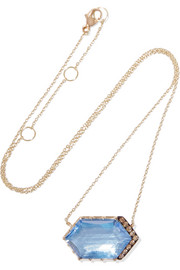 Larkspur & Hawk Caprice 14-karat gold, diamond and quartz necklace