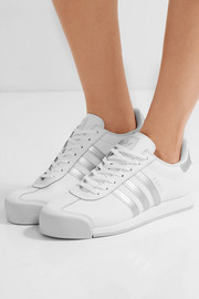 Samoa metallic-trimmed leather sneakers