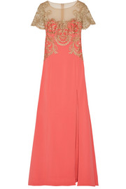 Embroidered tulle and stretch-crepe gown