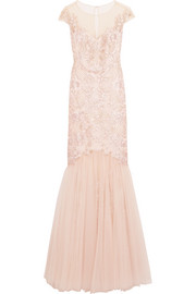 Embroidered embellished tulle gown