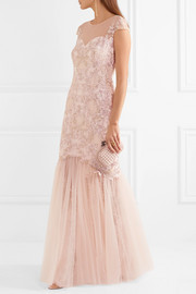 Marchesa Notte Embroidered embellished tulle gown