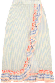 Afia ruffled striped cotton-blend gauze skirt