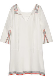 Tewa embroidered cotton-gauze dress