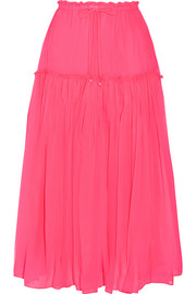 Dulce pleated silk-crepon midi skirt