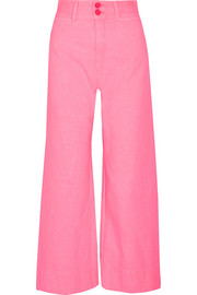 Cropped crinkled-cotton wide-leg pants