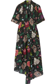 Gathered floral-print cotton-voile dress