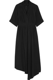 Asymmetric wrap-effect crepe midi dress
