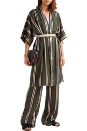 Belted striped satin-trimmed twill jacket