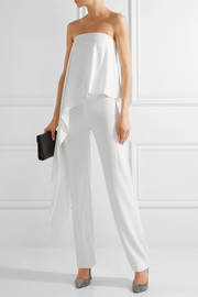 Adam Lippes Strapless crepe wide-leg jumpsuit