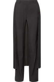 Layered pleated georgette and crepe wide-leg pants