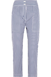 Adam Lippes Cropped striped cotton slim-leg pants