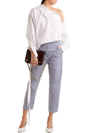 Cropped striped cotton slim-leg pants