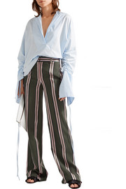 Striped satin-trimmed twill wide-leg pants