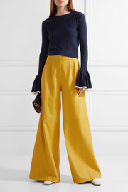 Adam Lippes Pleated leather wide-leg pants